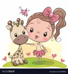 Buy Cartoon Girl with Giraffe by on GraphicRiver. Cute Cartoon Girl with giraffe on the meadow Cartoon Cartoon, Cute Cartoon Boy, Disney Cartoon Characters, Cartoon Drawings, Cute Drawings, Cute Little Girls, Cute Kids, Owl Vector, Unicorn Pictures