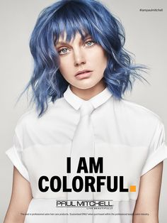 Love the simplicity in wardrobe and make up.white/ or grey for us adds a cool element and doesn't distract from hair Paul Mitchell Haircare Advertising Hair Color Blue, Blue Hair, Hair Colors, Vogue 2016, Paul Mitchell Hair Products, Hair Quotes, Salon Quotes, Great Hair, Cosmetology