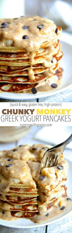 Chunky Monkey Greek Yogurt Pancakes -- a quick and easy gluten-free breakfast that packs over 20g of protein! || runningwithspoons.com #pancakes #glutenfree #breakfast