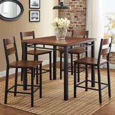5-Piece Counter Table And 4 Chairs Height Dining Wood Pub Set Home Furniture NEW #BetterHomesandGardens