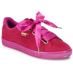 PUMA Basket Heart Suedeand Satin Sneakers (1,400 MXN) ❤ liked on Polyvore featuring shoes, sneakers, heart shoes, puma footwear, round cap, rubber sole shoes and satin shoes