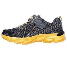 Skechers Kids' Advance Hyper Tread Sneaker Pre/Grade School Shoes (Black/Gray/Orange)