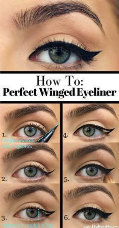 Winged Eyeliner Tutorials - How To Perfect Winged Eyeliner- Easy Step By Step Tutorials For Beginners and Hacks Using Tape and a Spoon, Liquid Liner, Thing Pencil Tricks and Awesome Guides for Hooded Eyes - Short Video Tutorial for Perfect Simple Dramatic Looks - thegoddess.com/winged-eyeliner-tutorials #wingedlinerhacks #wingedlinerforhoodedeyes #wingedlinerhowto #wingedlinereasy #wingedlinertricks