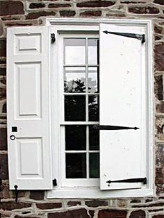 Brandywine Forge How to select and install shutter hardware Window Shutters Exterior, Outdoor Shutters, House Shutters, Diy Shutters, House Windows, Shutter Hinges, Shutter Hardware, Barn Door Hardware, Hurricane Windows