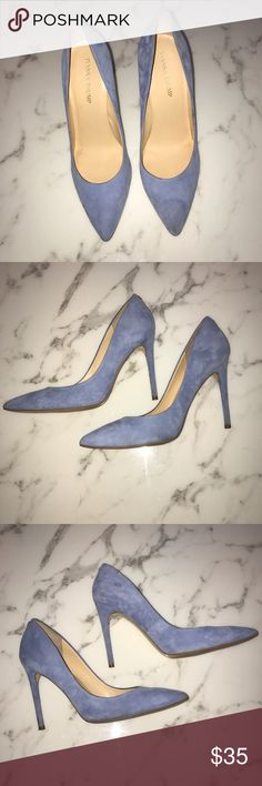 """💙 Ivanka Kayden4 """"Blue Suede Pumps"""" Size 10  💙 I wore these for one day and night to my """"something blue"""" themed bridal shower, then out on the town afterwards. Please note the price reflects the level of gentle wear, but the suede is truly in great condition and will be like new with a little bit of careful cleaning. It would be very difficult for someone to tell they had been worn previously if they're on your feet and you're all dolled up. Tall heel, still comfy. wore w/ a white midi…"""