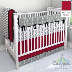 Crib bedding in Solid Black, Solid Red, Gray Arrow, White and Gray Zig Zag, Black Satin. Created using the Nursery Designer® by Carousel Designs where you mix and match from hundreds of fabrics to create your own unique baby bedding. #carouseldesigns