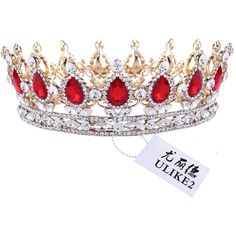 Amazon.com : Ulike2 King/queen Crown Red Ruby Stone Sapphire Tiaras... ($26) ❤ liked on Polyvore featuring jewelry, yellow gold jewelry, ruby jewellery, gold jewellery, ruby red jewelry and gold crown