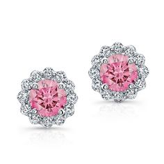 18K WHITE GOLD INSPIRED FLOWER DESIGN EARRINGS FEATURING TWO  PINK COLOR ENHANCED ROUND DIAMONDS TOTALING 0.40 CARAT AND SURROUNDED BY ROUND WHITE DIAMONDS