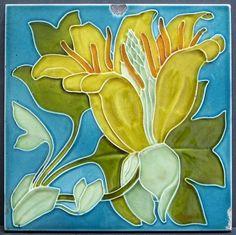 Pilkington arts and crafts art nouveau Lewis Day Victorian majolica tile