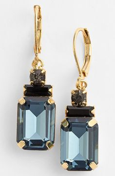Crystal Blue Drop Earrings.