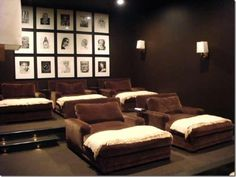 home movie theatre but different color furniture