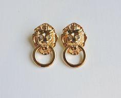 Vintage Lion Door Knocker Earrings Kjl For Avon Kenneth J Lane Gold Lions Head Rhinestone Eyes Signed Jewelry