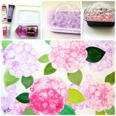 Arts and crafts are a great way to get your kids' creativity going! Take the creativity outside with these fun outdoor arts and crafts for kids. Bubble Painting, Bubble Art, Spring Art, Spring Crafts, Art For Kids, Crafts For Kids, Arts And Crafts, Art Floral, Classroom Crafts