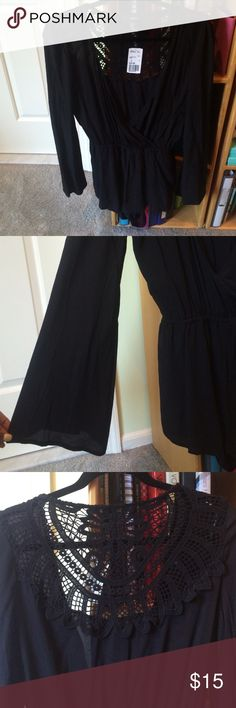 Black Romper Super cute never worn black romper with crochet back and wide open sleeves Forever 21 Other