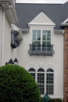 Wrought Iron Window Boxes, Wrought Iron Gates, Balcony Railing Design, Small Balcony Design, Iron Window Grill, Window Shutters Exterior, French Balcony, Iron Windows, Iron Balcony