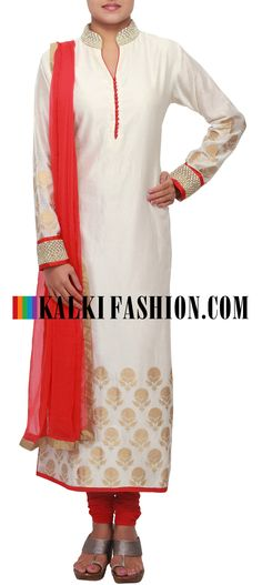 Get this beautiful salwar kameez here: http://www.kalkifashion.com/cream-straight-fit-suit-enhanced-in-embroidered-collar-only-on-kalki.html Free shipping worldwide.