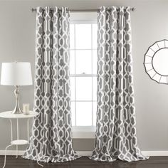 $ 60 - Edward Curtain Panel by Lush Decor -  Gray - Grommet - Room darkening - Two panels. - $ 52.    http://www.wayfair.com/Edward-Curtain-Panel-C327-LJD3826.html?piid%5B0%5D=14421515