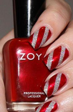 nageldesign nail art weihnachten in rot und silber
