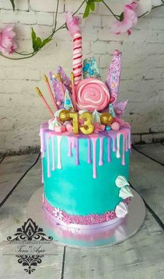 Super Birthday Cake For Teens Teal Party Ideas Ideas Super Birthday Cake Fo. Super Birthday Cake For Teens Teal Party Ideas Ideas Super Birthday Cake For Teens Teal Party Teen Girl Cakes, Cakes For Girls, Teenage Girl Cake, Mini Cakes, Cupcake Cakes, Baby Cakes, 13th Birthday Cake For Girls, Bolo Sofia, Candy Birthday Cakes