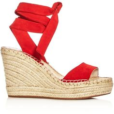 Kenneth Cole Odile Ankle Tie Espadrille Wedge Sandals ($84) ❤ liked on Polyvore featuring shoes, sandals, espadrille sandals, wedges shoes, wedge espadrilles, ankle tie sandals and ankle wrap wedge sandals