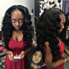 Loose wand curls  Pull up wig
