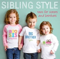 My girls love telling everyone that they are sisters...they would love these shirts with their names on :)