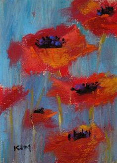 Red Poppies on Blue  original pastel aceo 2.5x3.5