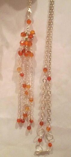 Cordão prata Ágata laranja