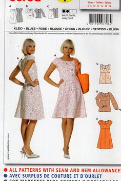 Burda 7798 Sewing Pattern Free Us Ship Dress Top Casual Summer Size 6 8 10 12 14 16 18 Bust 30 31 32 34 36 38 40 Uncut FF by LanetzLiving on Etsy