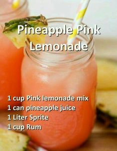 Halloween Cocktail Recipes that are Spooktacular pineapple pink lemonade halloween cocktail Refreshing Drinks, Summer Drinks, Fun Drinks, Healthy Drinks, Easy Fruity Mixed Drinks, Party Drinks, Party Shots, Beach Drinks, Alcholic Drinks