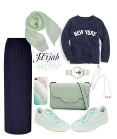 """#Hijab_outfits #Mint_green"" by mennah-ibrahim on Polyvore featuring J.Crew, Escada Sport, Paule Ka, Kate Spade, Puma and Gray Malin"