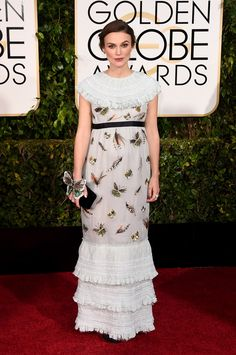 Golden Globes 2015: Keira Knightley in Chanel. We love this. She looks like a shepardess out of a nursery rhyme.