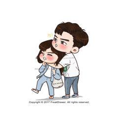 Love Cartoon Couple, Cute Love Cartoons, Cute Couple Art, Cute Couples, Fight My Way Kdrama, Kim Bok Joo, Cute Couple Wallpaper, Korean Art, Korean Drama