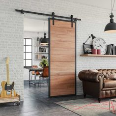 Porte coulissante avec rail en métal apparent Küchen Design, House Design, Interior Design, Cool Furniture, Furniture Design, Glass Barn Doors, Interior Stairs, Interior Doors, Kitchen Models