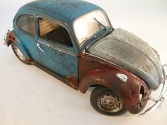1960s VW Beetle 1/24 scale model car in blue by classicwrecks, $80.00