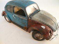 1960s VW Beetle 1/24 scale model car in blue