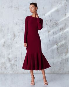 Платье «Лиза» миди бордо, Цена — 26 990 рублей