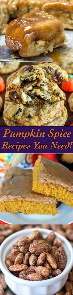 Pumpkin Spice Recipes Galore! Recipes perfect for fall, halloween, Thanksgiving, and more!
