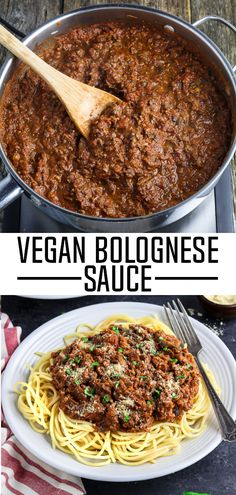 Vegan Bolognese ~ It's rich, bold, savory and reminiscent of the Italian classic we all love! #veganbolognese #vegansauce #veganpasta #veganhuggs #veganitalian #vegandinner