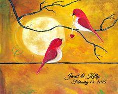 Custom Wedding Gift for Couple Personalized Anniversary Gift Print Engagement Gift Love Birds Art Print