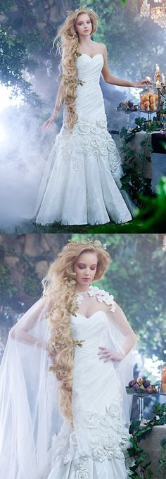 Disney's Rapunzel wedding gown. See what everyone thinks about it here. https://www.facebook.com/weddingchicks/posts/10152436904377672