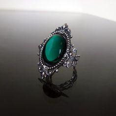 Victorian gothic ring  Emerald green ornate by DarkEleganceDesigns
