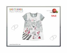#Bóboli #girls short sleeved chic grey jersey #dress with chiffon front with fashion print from Oh La La collection on sale at  www.kidsandchic.com.  #shopnow at www.kidsandchic.com/girls-chic-grey-dress-boboli-oh-la-la.html  #backtoschool #deals #sale #summersale #kidsfashion #discount #shopping #niña #kidsandchic #kidsandchiccom #castelldefels #barcelona