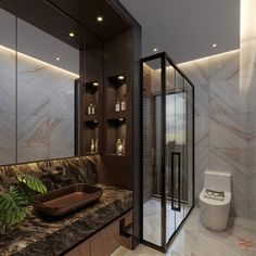Taking Bathroom Interiors to the next level? Here's a luxurious, high-end Interior design transformation of a Residential Home. Bathroom Design Luxury, Bathroom Interior, Empire Design, Residential Interior Design, New Homes, Design Inspiration, Interiors, Stone, Modern