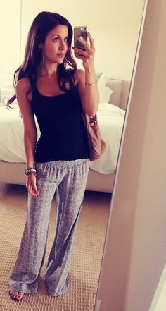 Plain black tank and patterned bottoms. Adorable warm weather outfit! Perfect for a shopping day.