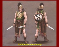 Celtiberian mercenaries -- Carthaginian light infantry. The Iberian short sword, which the Romans adopted and called a gladius, was shorter and therefore more useful for close quarters fighting.