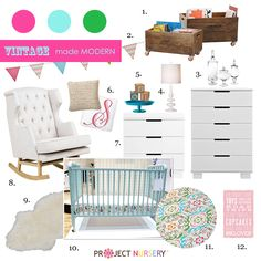 """Vintage Made Modern"" Nursery Design Board #nurserydesign #nursery"