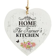 Personalised Shabby Chic Wooden Heart Decoration  from Personalised Gifts Shop - ONLY £9.99