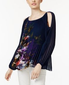 INC International Concepts Pleated Cold-Shoulder Top, Only at Macy's | macys.com