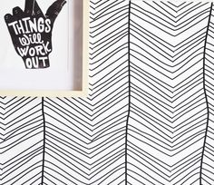 "Removable Wall Paper - 24"" x 48"" Hand Drawn Chevron Removable wall paper tile"